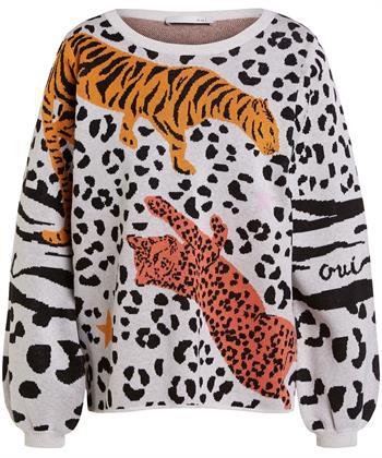 Oui Pullover Leopard Tiger