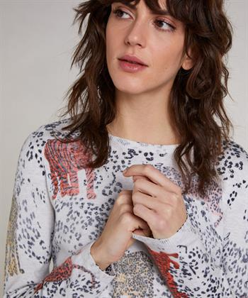 Oui Pullover Leopardenmuster