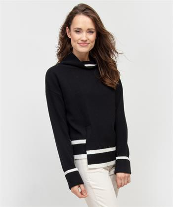 Oui Pullover schwarz / cremefarben