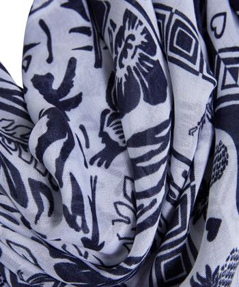 Oui sjaal tropische print en kwastjes